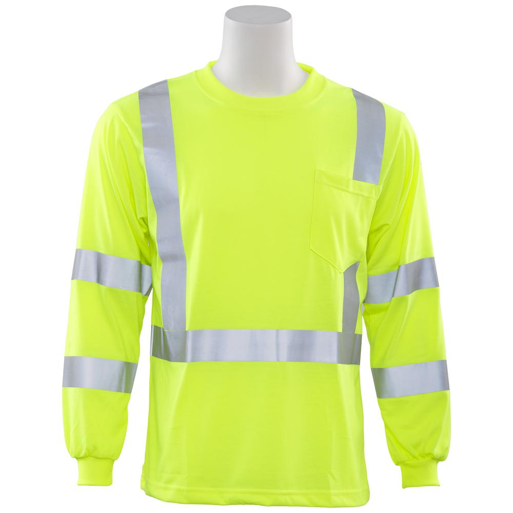 3cbfaa572c ERB 9802S M Class 3 Long Sleeve Hi Viz Lime Poly Jersey Knit T-Shirt ...