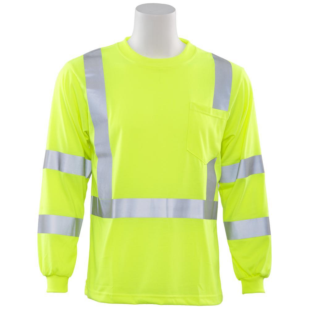 9802S M Class 3 Long Sleeve Hi Viz Lime Poly Jersey Knit T-Shirt