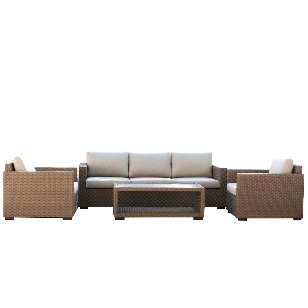Patio Plus Wicker Outdoor Conversation Set Beige Cushions