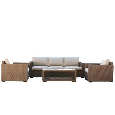 Palmetto 4-Piece Wicker Outdoor Patio Conversation Set with Beige Cushions