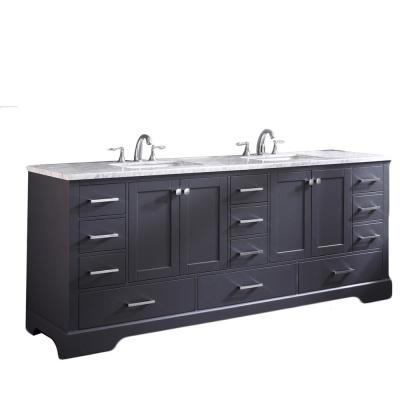 Storehouse 84 in. W x 22 in. D x 34 in. H Vanity in Dark Gray with Carrara Marble Vanity Top in White with White Basin