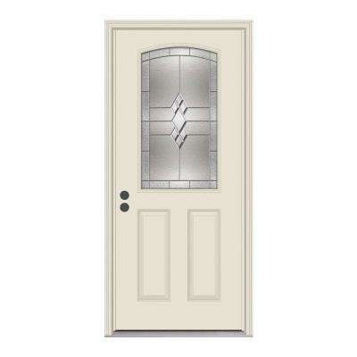 36 in. x 80 in. 1/2 Lite Kingston Primed Steel Prehung Right-Hand Inswing Front Door w/Brickmould