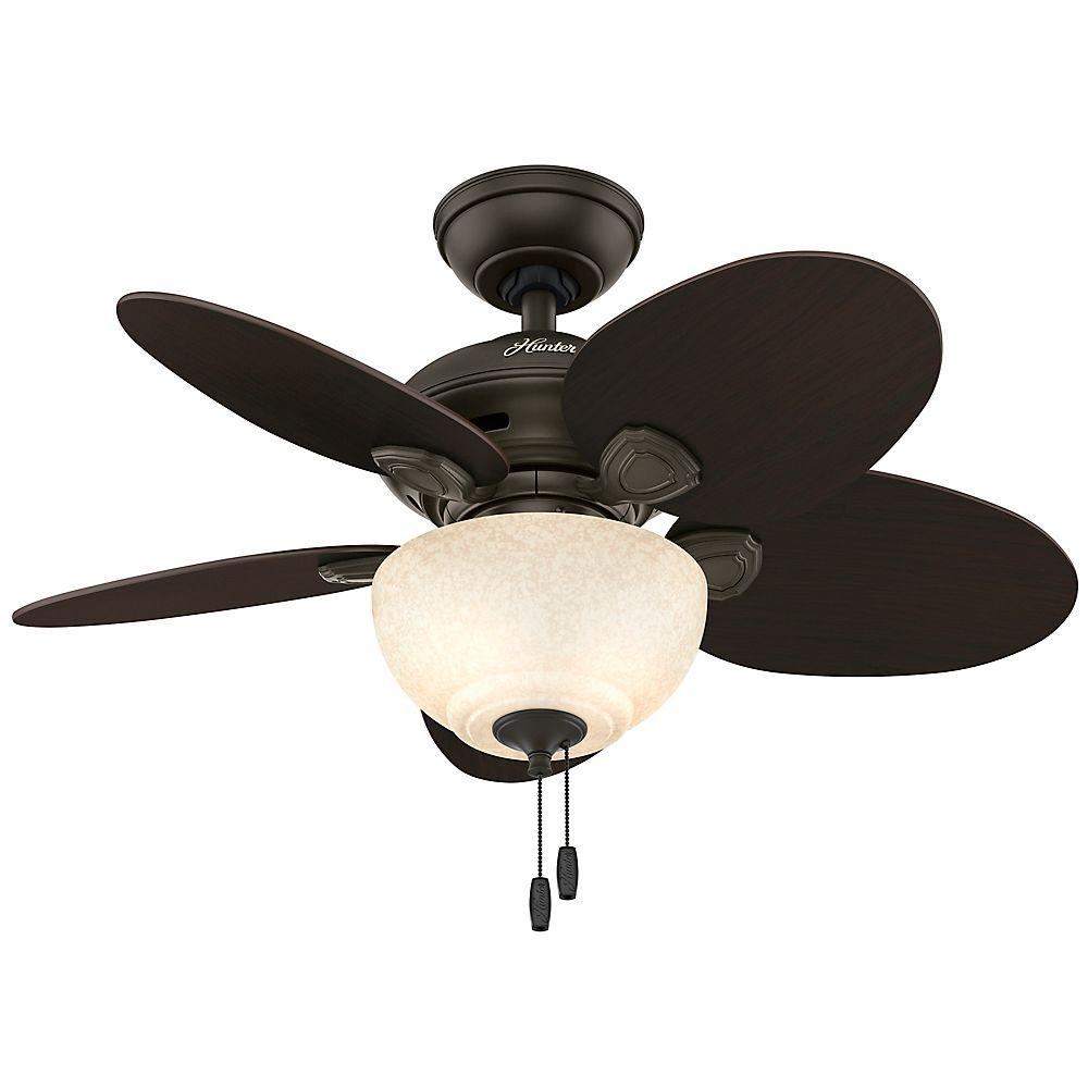 Hunter watson 34 in indoor new bronze ceiling fan with light kit hunter watson 34 in indoor new bronze ceiling fan with light kit 52090 the home depot aloadofball Choice Image