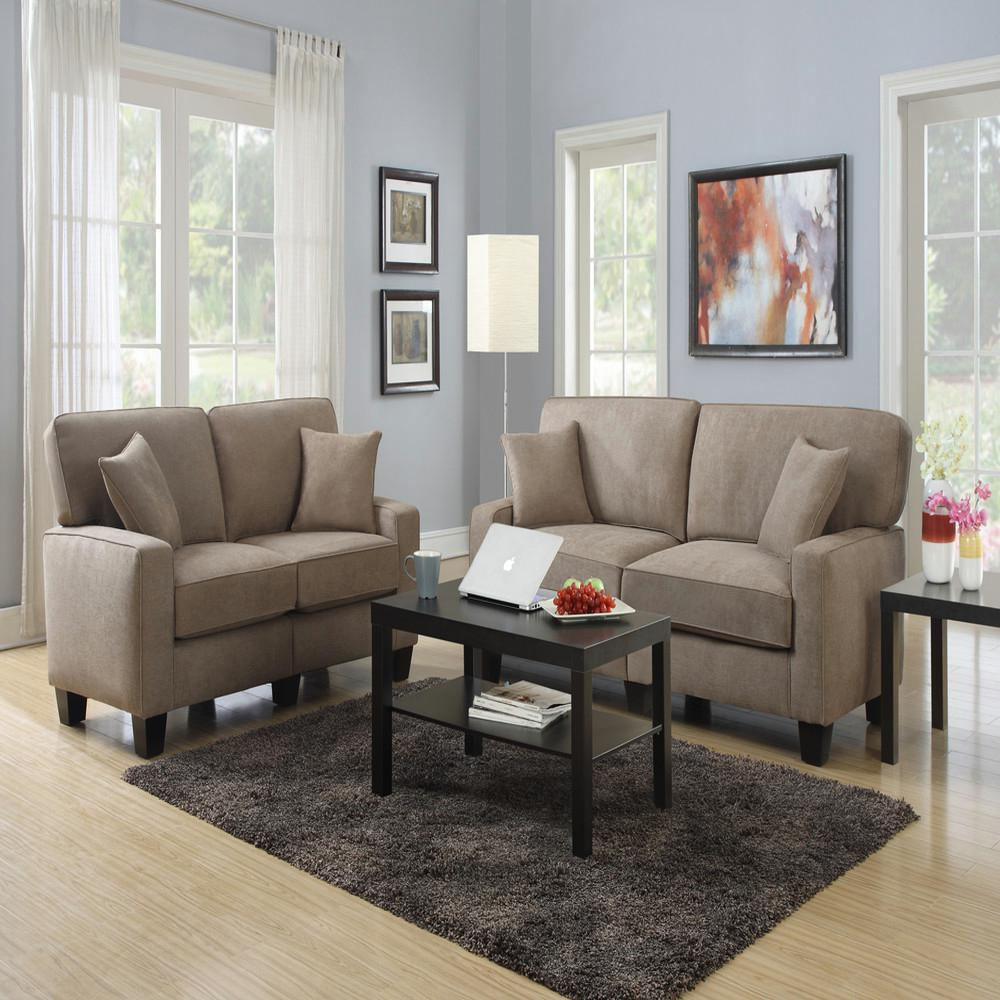 RTA Martinique Dominica Earth Espresso Polyester Loveseat. Sofas   Loveseats   Living Room Furniture   The Home Depot