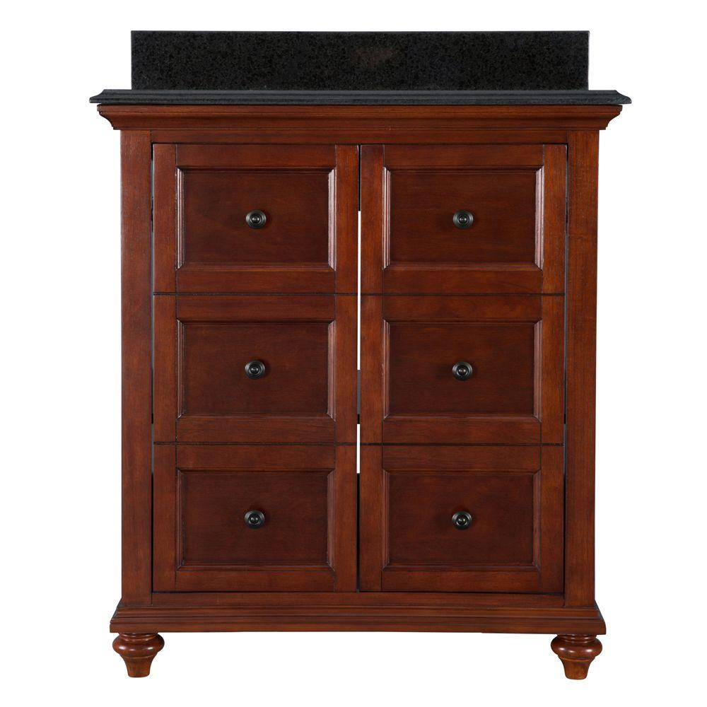 Admiral 30 in. Vanity in Dark Walnut with Engineered Stone Vanity