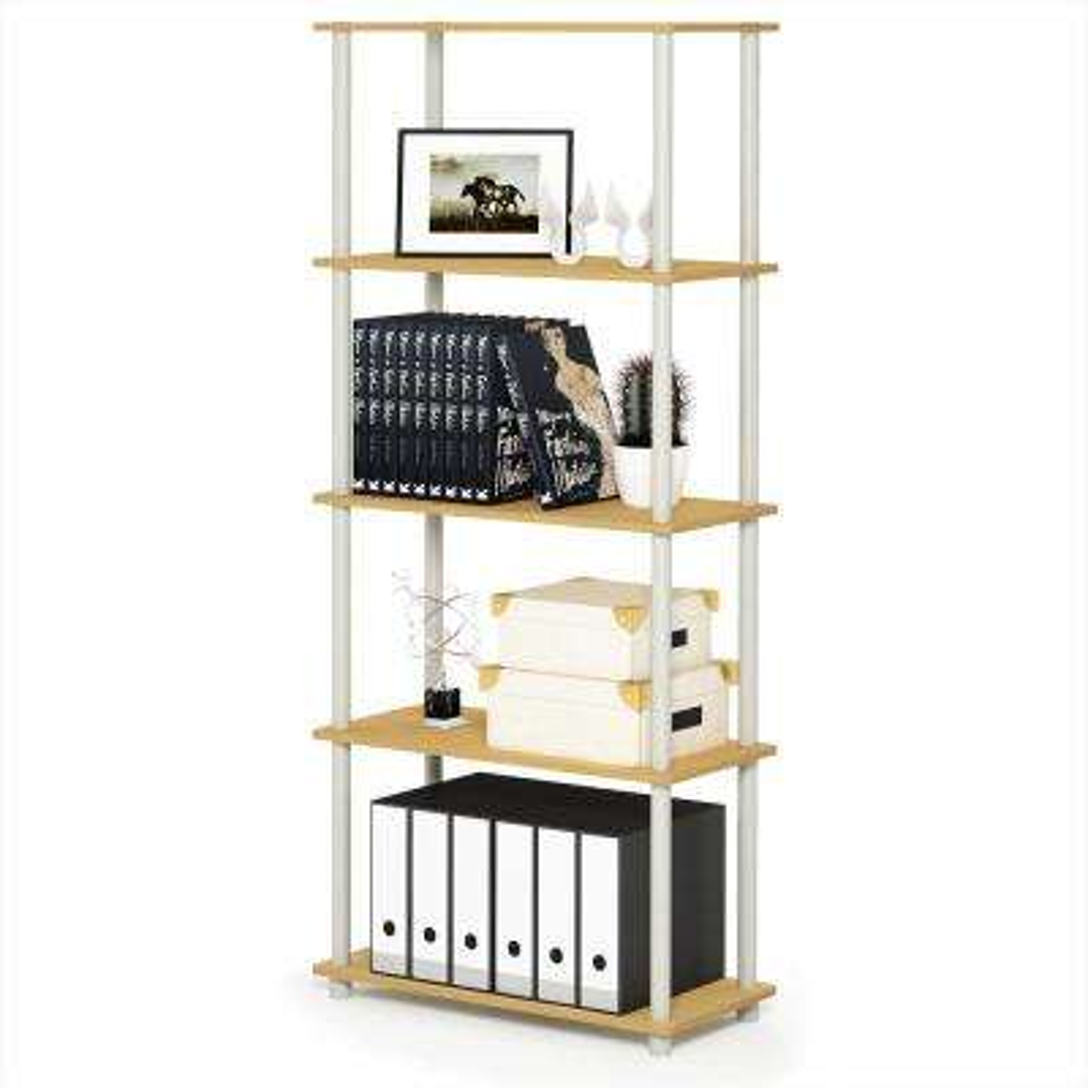 Turn-N-Tube Beech/White 5-Shelf Multipurpose Display Shelf