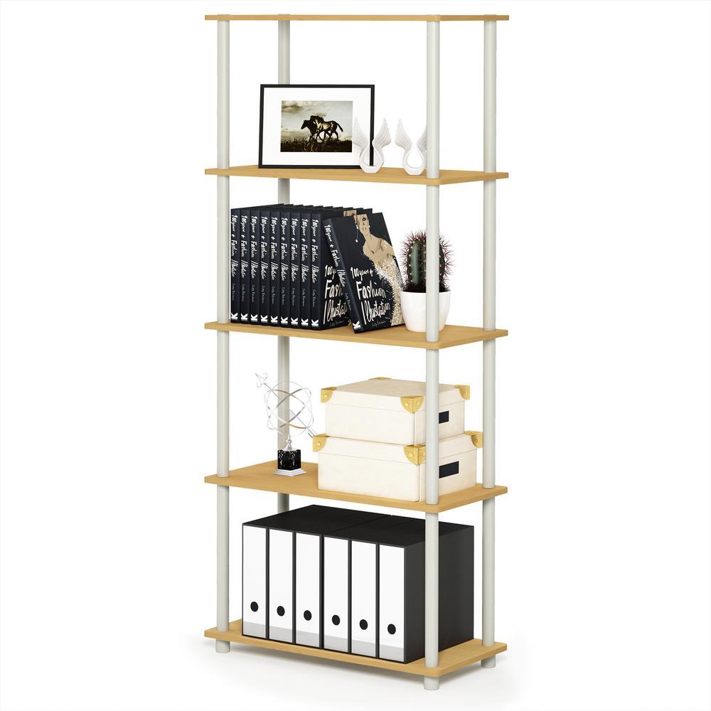 Furinno Turn-N-Tube Beech/White 5-Shelf Multipurpose Display Shelf 17091BE/WH