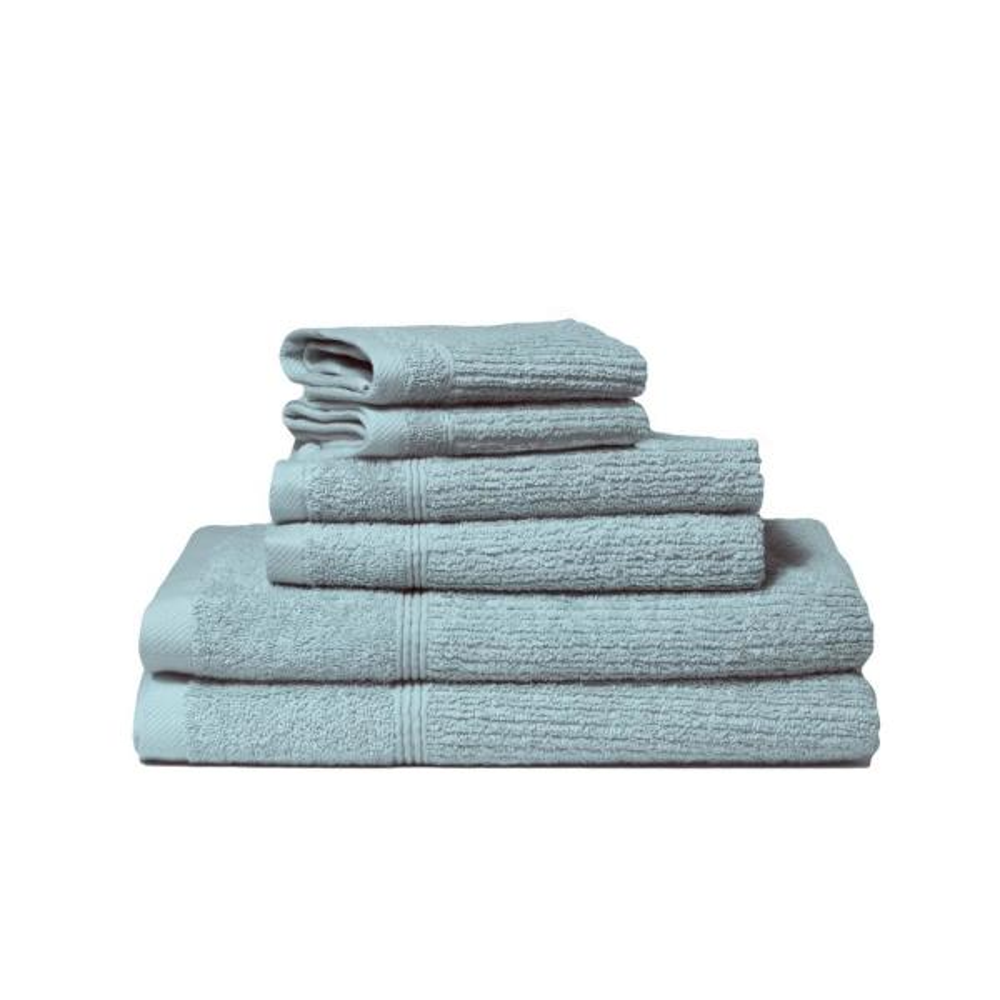 Lintex Donna 6-Piece 100% Cotton Bath Towel Set in Spa Blue