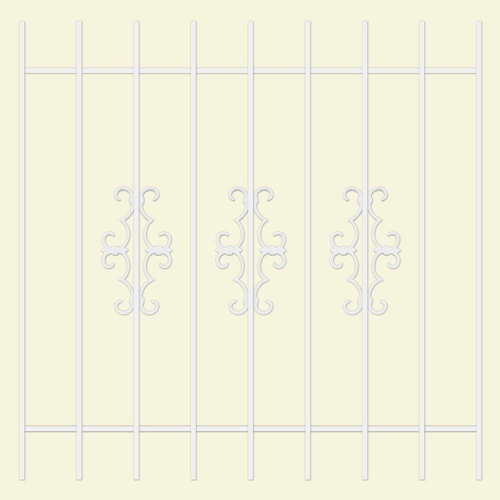 Unique Home Designs Watchman Trio 48 in. x 48 in. White 9-Bar Window Guard-DISCONTINUED