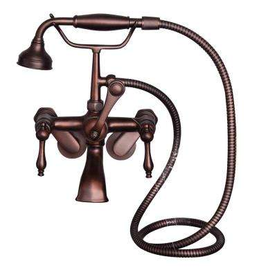 3-Handle Wall Mounted Claw Foot Tub Faucet with Elephant Spout and Hand Shower in Oil Rubbed Bronze