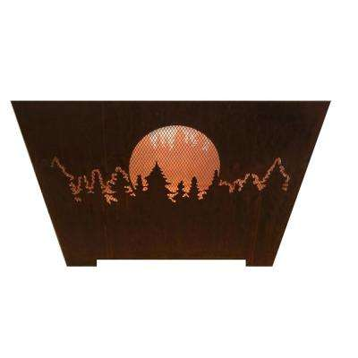 Forest and Moon 24 in. x 16 in. Square Steel Wood Burning Fire Pit in Rust
