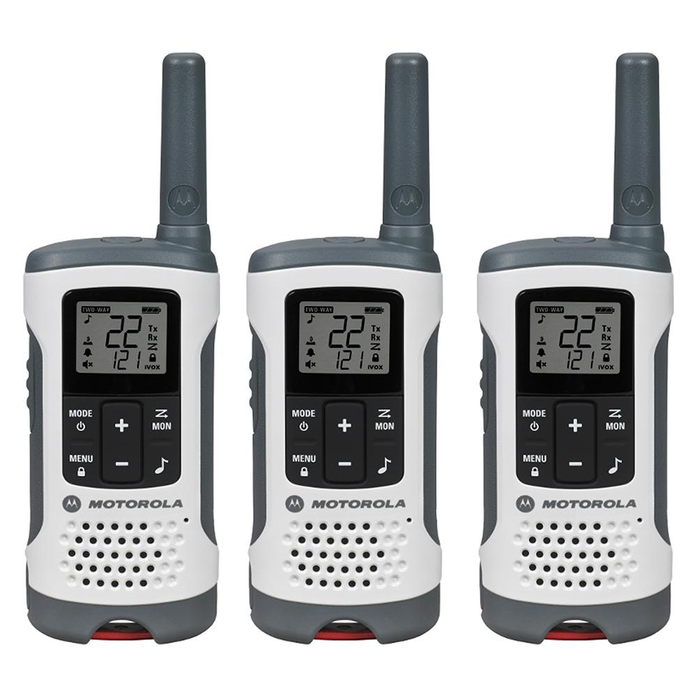Talkabout T260TP Rechargeable 2-Way Radio, White (3-Pack)