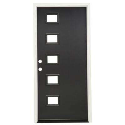 36 in. x 80 in. Inkwell 5 Lite Clear Glass Painted Fiberglass Prehung Front Door with Brickmould