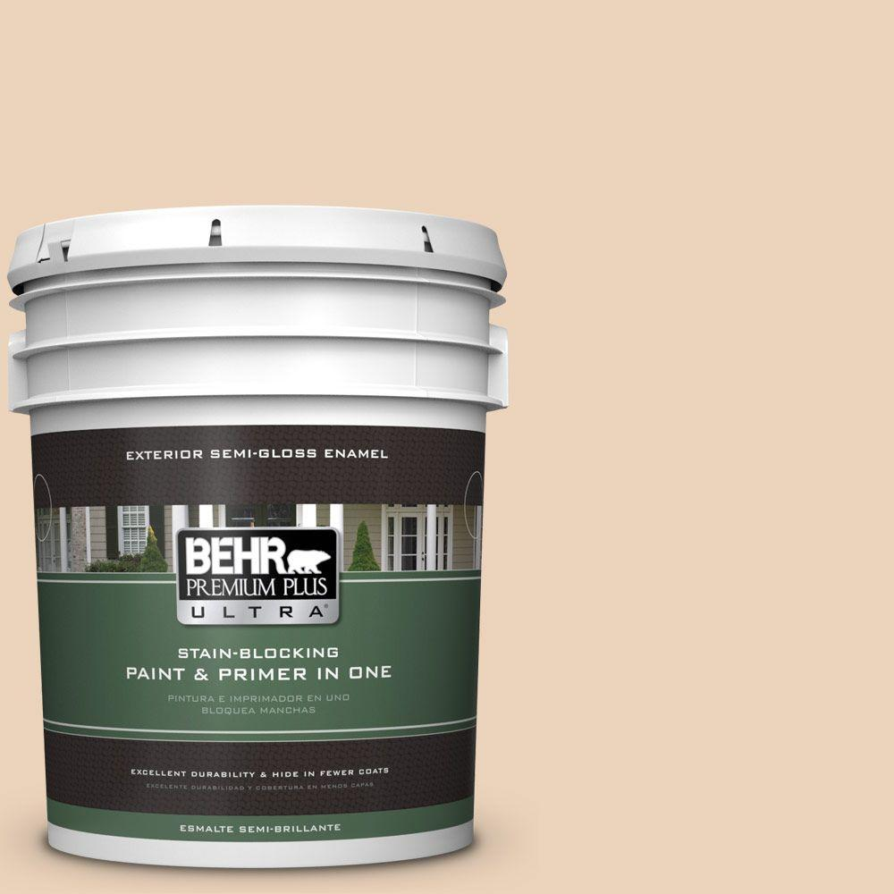 BEHR Premium Plus Ultra 5-gal. #ECC-52-1 Nevada Sand Semi-Gloss Enamel Exterior Paint