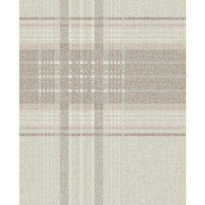 Rhea Plaid Taupe/Gold Vinyl Peelable Roll (Covers 56 sq. ft.)