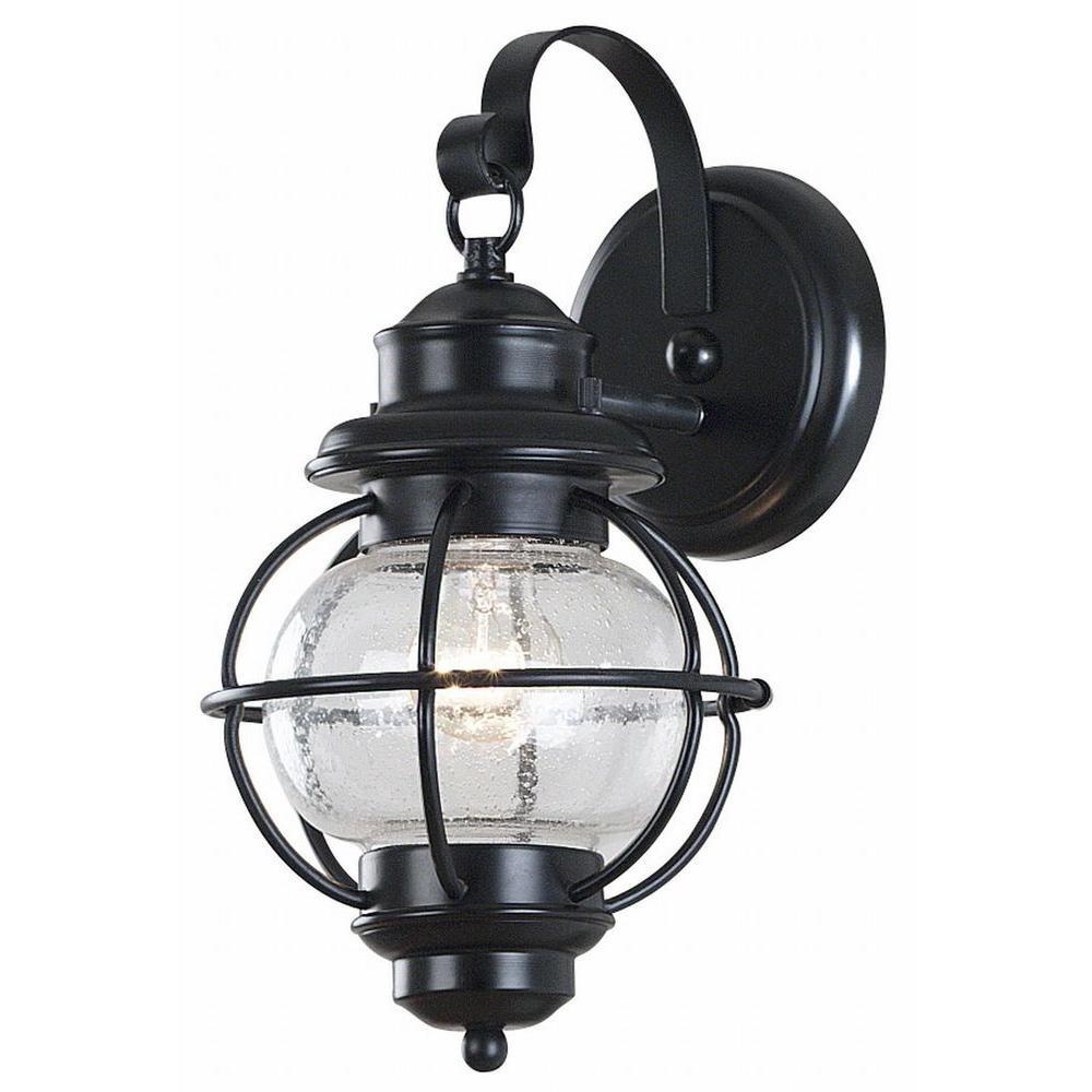 Kenroy Home Hatteras 1-Light Black Small Wall Lantern