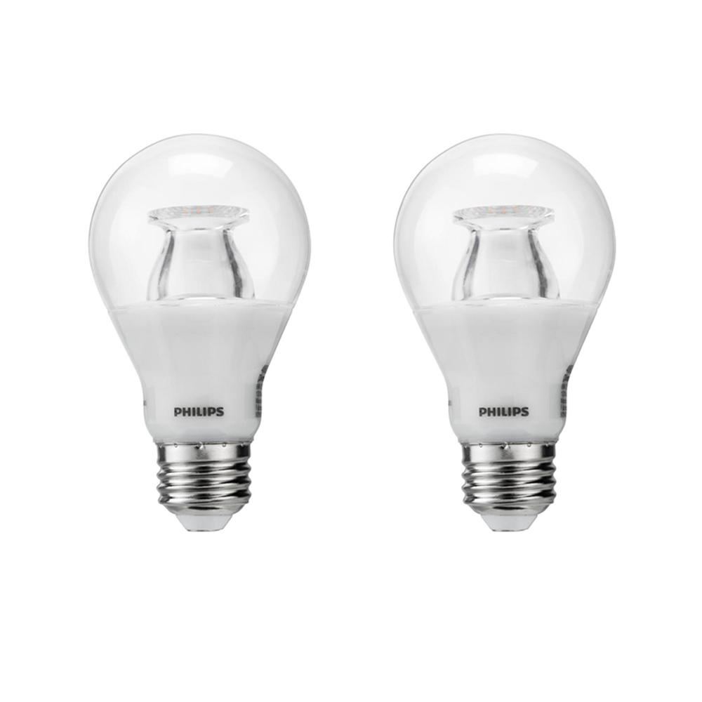 Philips 40-Watt Equivalent A19 Dimmable with Warm Glow Dimming Effect  Energy Saving LED Light Bulb Soft White (2700K) (2-Pack)