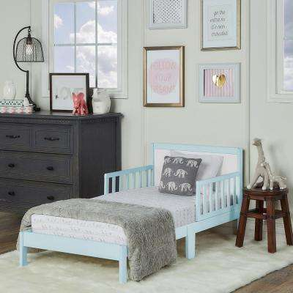 Brookside Sky Blue and White Toddler Adjustable Bed