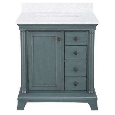 Strousse 31 in. W x 22 in. D Vanity Cabinet in Distressed Blue Fog with Marble Top in Carrara White with White Sink