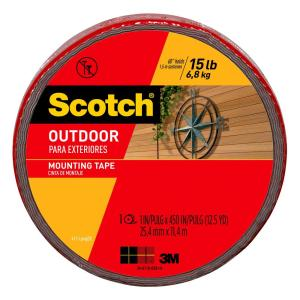 3M Scotch 1 inch x 12.5 yds. Permanent Outdoor Double Sided Mounting Tape (Case... by 3M