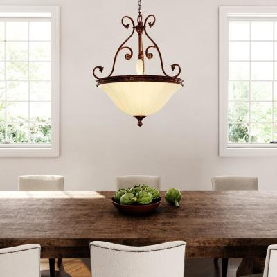 Freemont Collection 3-Light Antique Bronze Hanging Pendant with Glass Shade