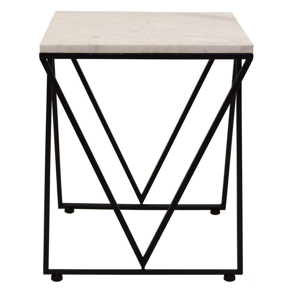 amazing Three Hands End Table Part - 3: THREE HANDS 18 in. Metal and Marble Accent Table