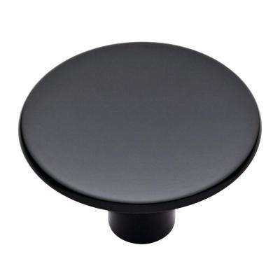Flared 1-1/2in. (39mm) Black Round Cabinet Knob