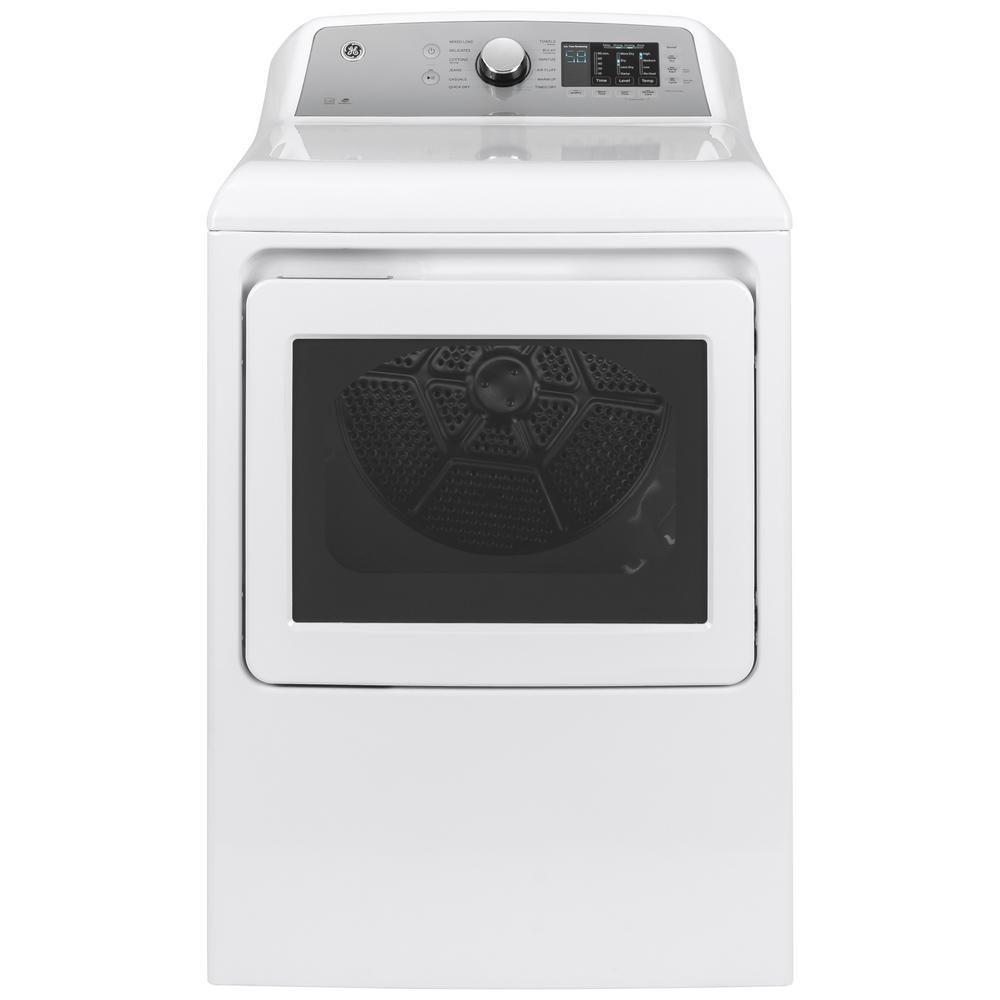GE 7.4 cu. ft. 240-Volt White Electric Vented Dryer with Sanitize Cycle, ENERGY STAR