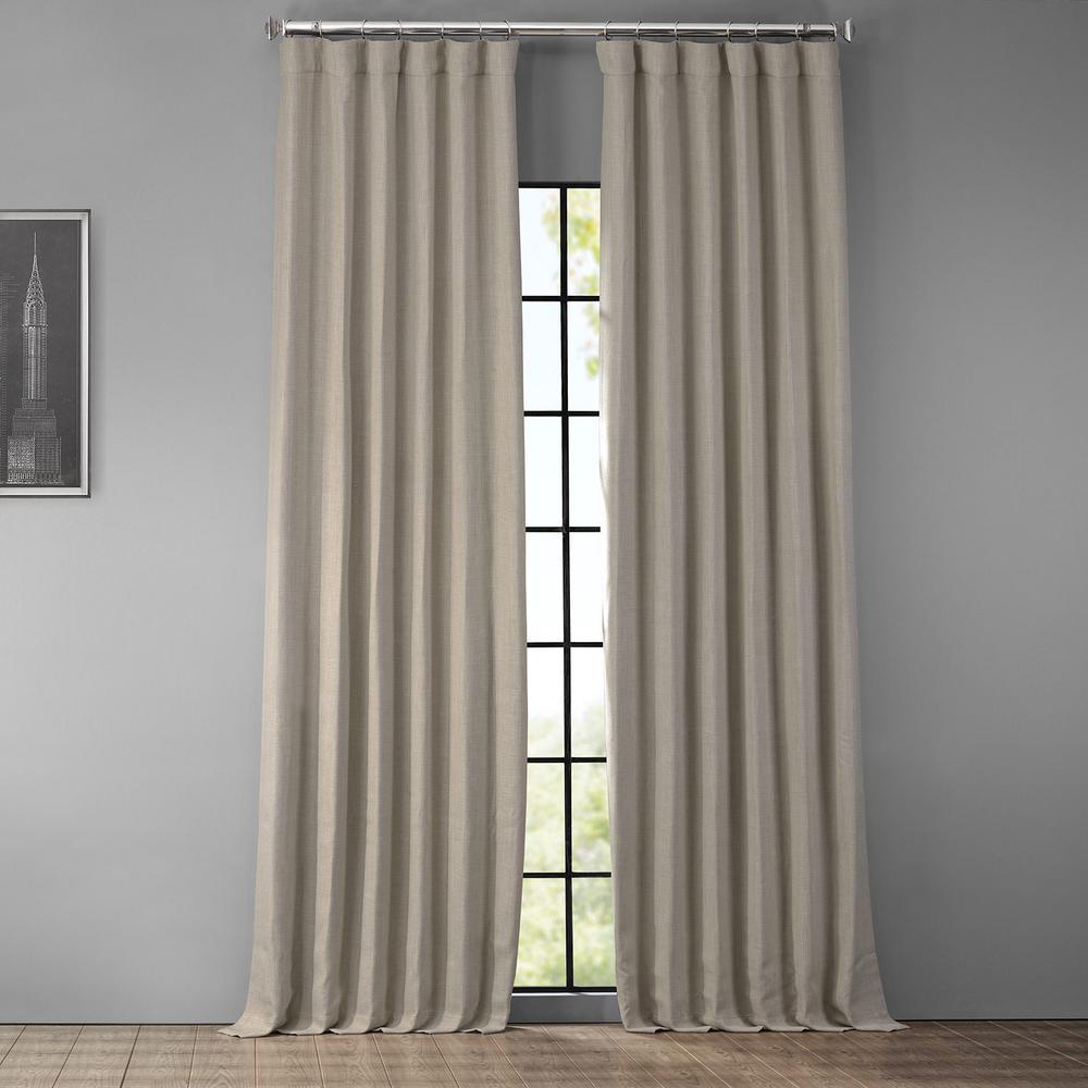 Oatmeal Beige Faux Linen Blackout Room Darkening Curtain - 50 in. W x 120 in. L