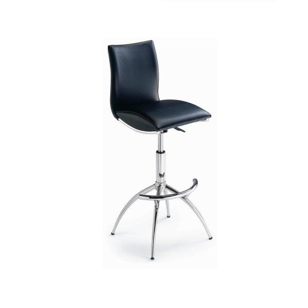 Adjustable and Swivel Bar-Height Barstool in Black Color (Set of 2)