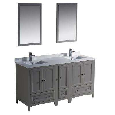 Warwick 60 in. Bathroom Double Vanity in Gray with Quartz Stone Vanity Top in White with White Basin and Mirrors