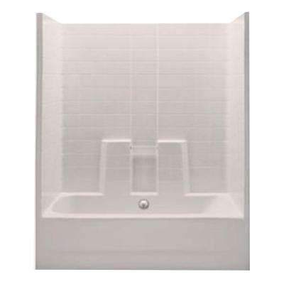 Everyday 60 in. x 30 in. x 74 in. 1-Piece Bath and Shower Kit with Center Drain in Biscuit