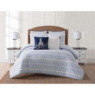 Reef White and Blue Queen Duvet and Pillow Shams