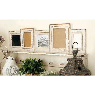 5-Openings Whitewashed Wall Shelf Picture Frame with Hooks