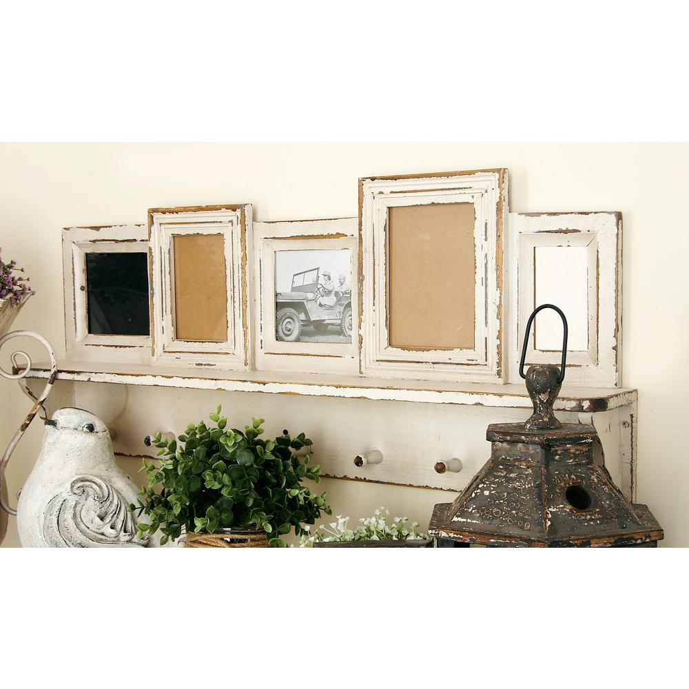 Fabulous 5-Openings Whitewashed Wall Shelf Picture Frame with Hooks-20406  XW97
