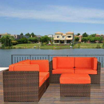 Nice Brown 5-Piece Patio Sectional Seating Set with Orange Cushions