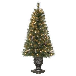 4.5 ft. Alpine Potted Artificial Christmas Tree with Pinecones and Glitter and 150 Clear Lights by