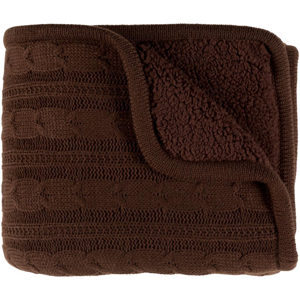 Shae Dark Brown Polyester Blend Throw