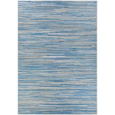Monte Carlo Coastal Breeze Ocean-Champagne 7 ft. 6 in. x 10 ft. 9 in. Indoor/Outdoor Area Rug