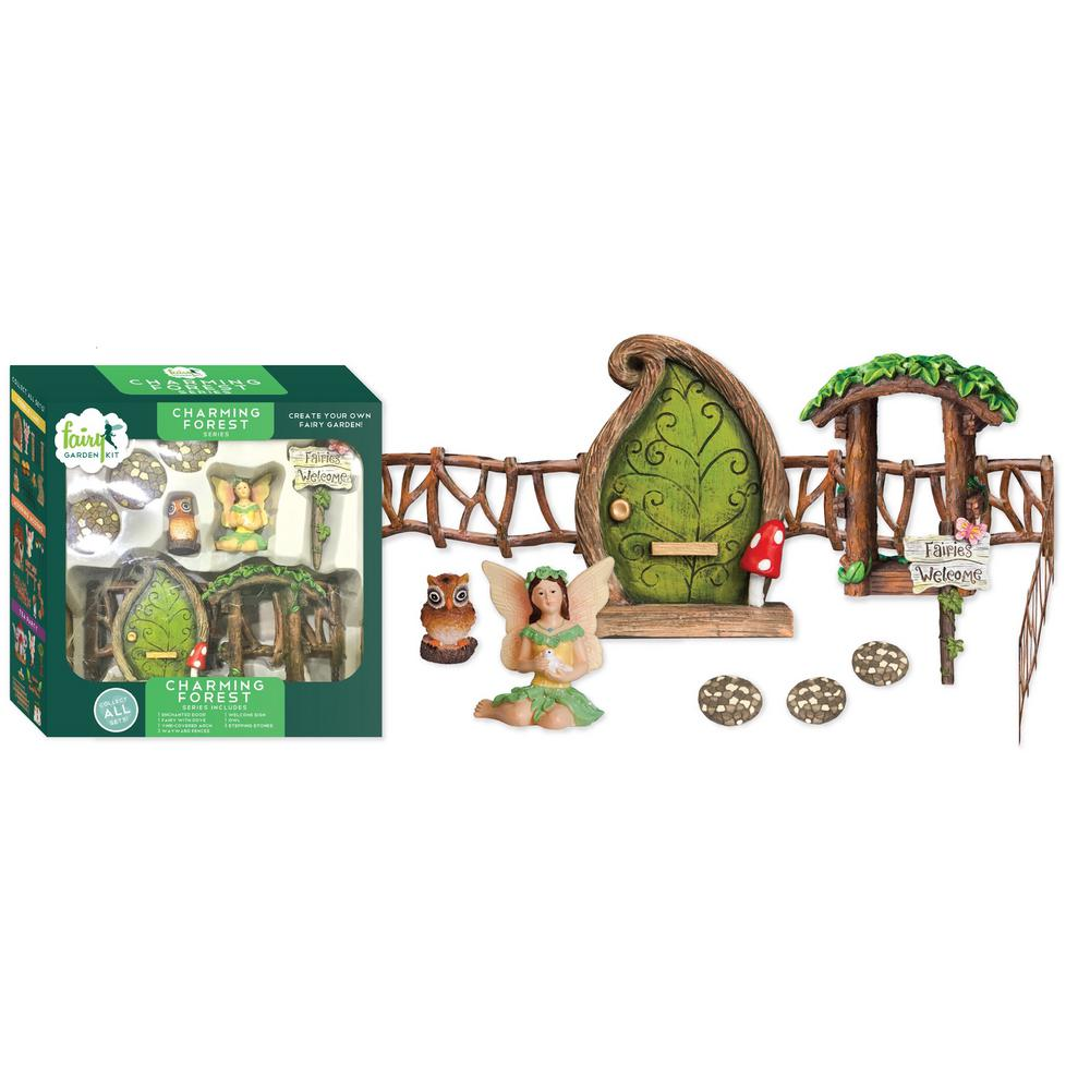 Arcadia Garden Products Charming Forest Polyresin Fairy Garden Kit (11-Piece) This Fairy Garden Kit will inspire your creativity. You can easily design a miniature garden scene and step into a world of fantasy. Fairy Garden Kits make it easy to design unique and delightful gardens. Imagine the possibilities.