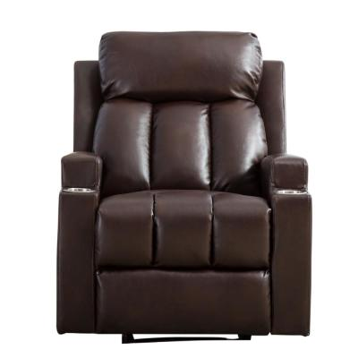 Recliner Chair Brown Tufted Breathable PU Leather Recliner with 2 Cup Holders Contemporary Theater Seating