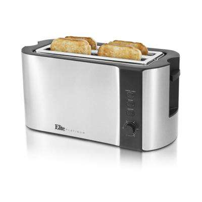 Long 4-Slice Stainless Steel Toaster