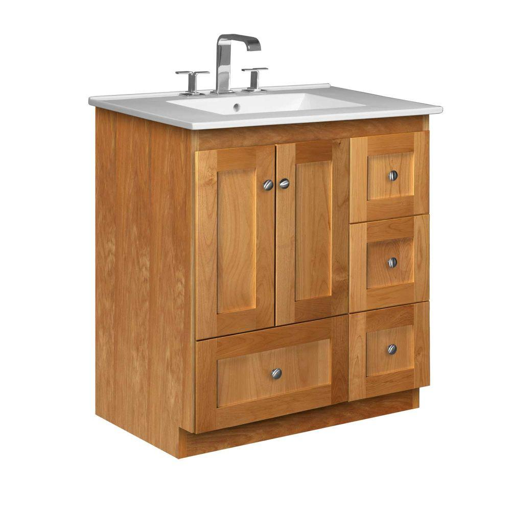 Simplicity by Strasser Shaker 31 in. W x 22 in. D x 35 in. H Vanity with Right Drawers in Natural Alder with Ceramic Vanity Top in White