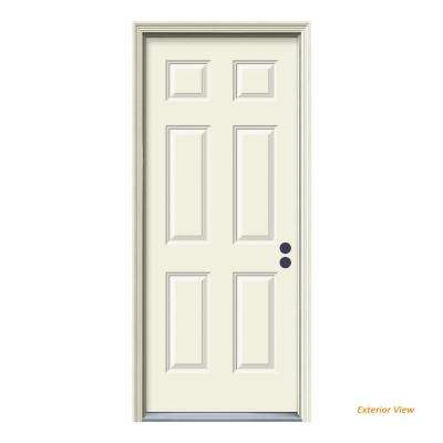 36 in. x 80 in. 6-Panel Primed 20 Minute Fire Rated Steel Prehung Left-Hand Inswing Front Door with Brickmould