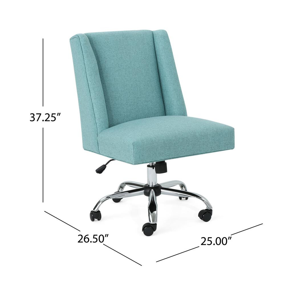 Le House Hatherly Traditional Blue Fabric Adjule Home Office Chair With Wheels 306020 The Depot