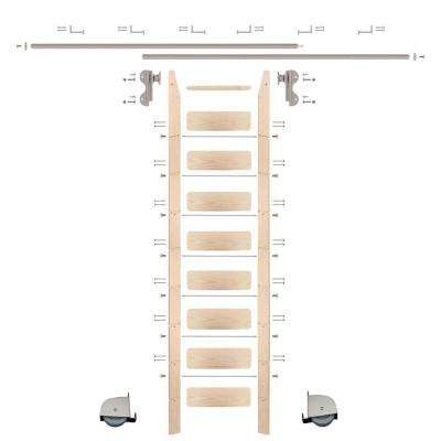 9 ft. Maple Ladder (10 ft. Reach) Satin Nickel Contemporary Rolling Hook Hardware 12 ft. Rail and Horizontal Brackets