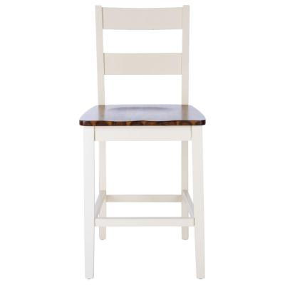 Izzy 39.5 in. White/Natural Bar Stool (Set of 2)