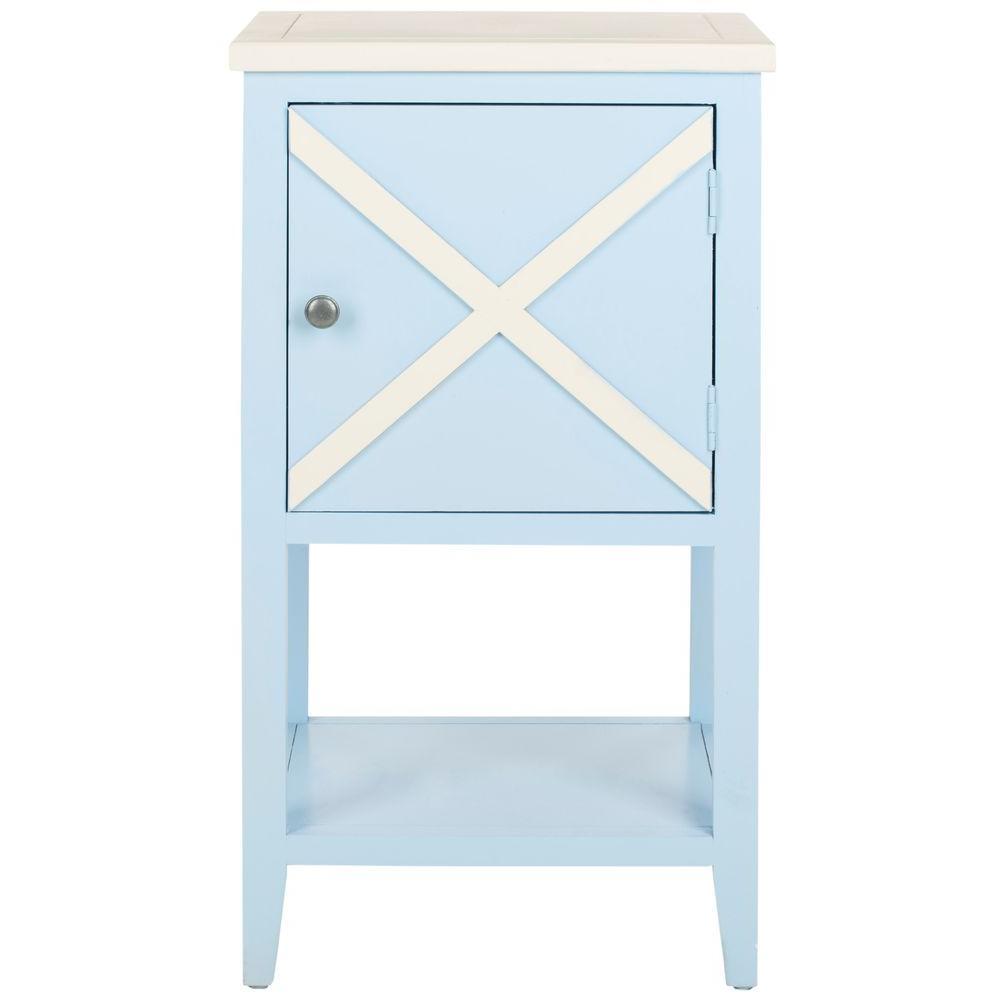 Super Safavieh Ward Light Blue And White Storage Side Table Forskolin Free Trial Chair Design Images Forskolin Free Trialorg
