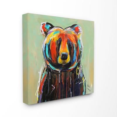 """30 in. x 30 in. """"Abstract Colorful Painted Black Bear"""" by Karrie Evenson Canvas Wall Art"""