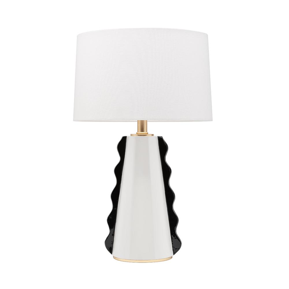 Light Black White Gold Leaf Table Lamp